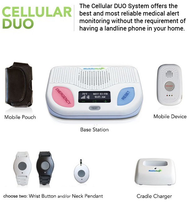 Mobile Help Cellular Duo Medical Alert System Advanced Security Llc