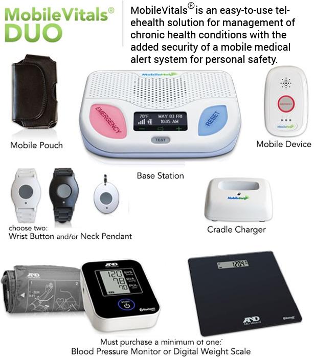 Mobile Help Cellular Mobile Vitals Duo Medical Alert