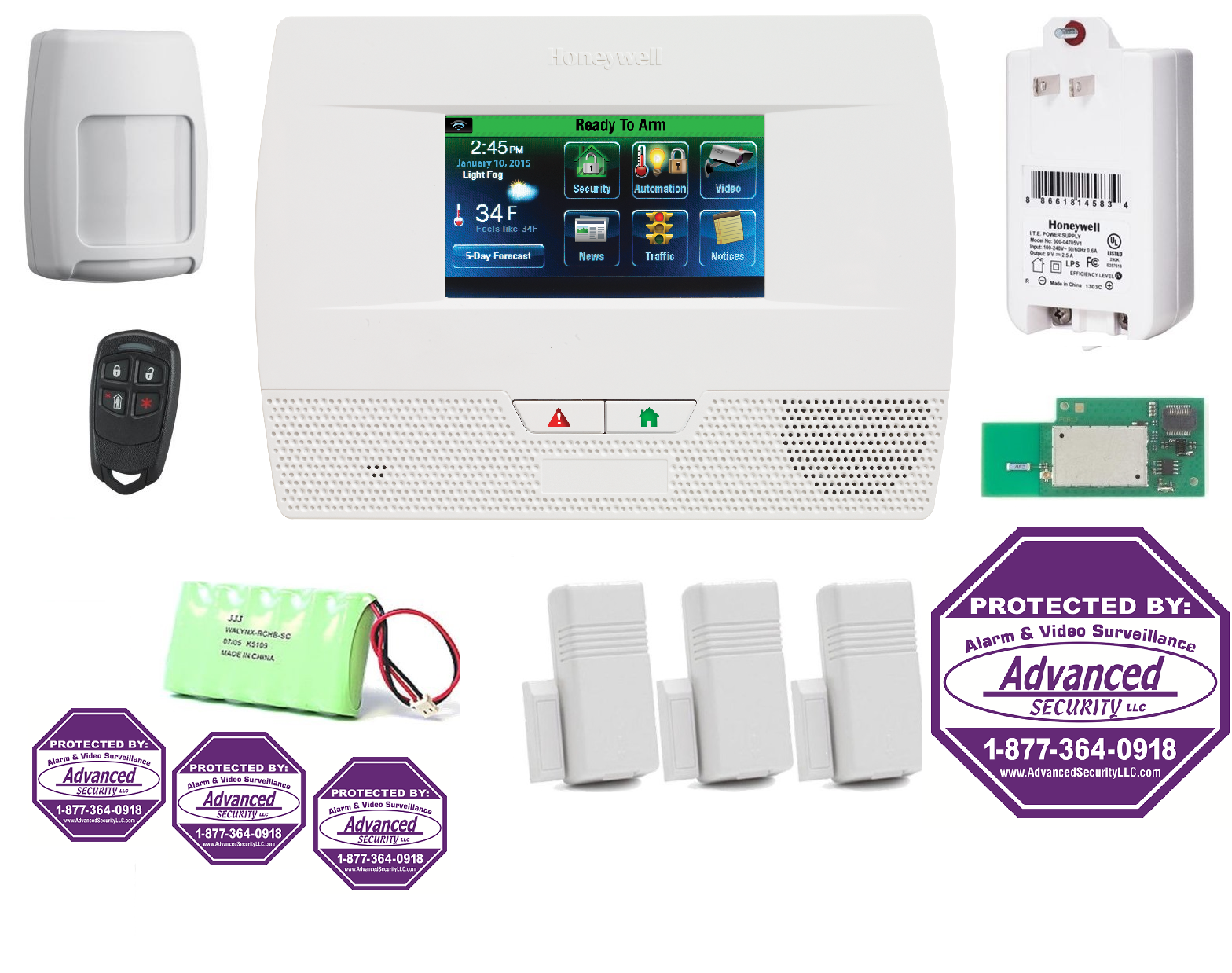 L521WF-KT1- DECALS Honeywell L5210 Lynx Touch Security Alarm System