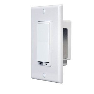 The GoControl WD500Z5-1 Z-Wave Wall Dimmer allows remote ON/OFF control and dimming of connected lights.