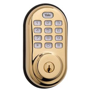 Yale-YRD210ZW605-Z-Wave-Push-Button-Deadbolt-Lock--Brass