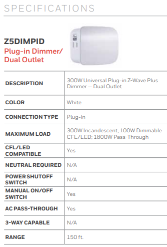 Honeywell Z5DIMPID Z-Wave Plug-In Dimmer/Dual Outlet