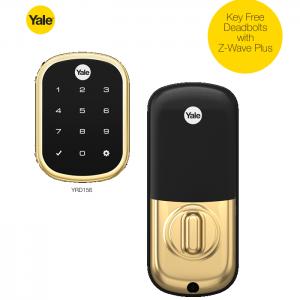Yale YRD156-ZW2-605 TouchScreen Deadbolt Z-Wave Lock-Polished Brass